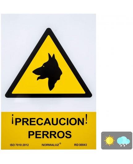 """SEÑAL """"¡PRECAUCIÓN! PERROS"""" - PVC"""