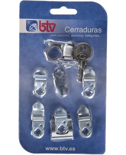 BTV 60008 Kit Cerradura Cartero Logo Cromo