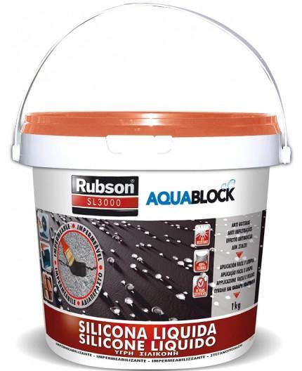 Rubson Aquablock SL3000 Silicona Líquida teja, impermeabilizante 1kg